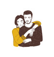 young woman embracing man adorable lovers vector image vector image
