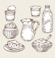 a set of dairy products in vector image vector image