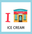 alphabet card with ice cream building vector image vector image