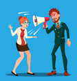 angry boss man screaming in megaphone at scared vector image