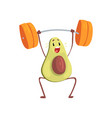 avocado exercising with barbell funny exotic vector image vector image