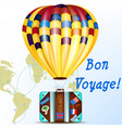 background with air balloon and suitcase vacation vector image vector image