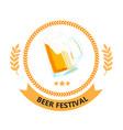 beer festival ribbon beer mug circle frame vector image vector image