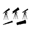 black silhouette set telescopes with stands and vector image vector image