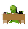 booger boss snot director sitting at table nasty vector image vector image