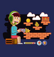 boy playing with video game console vector image vector image
