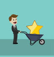 businessman hold a big gold star victory rating vector image