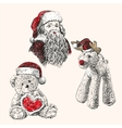 christmas set hand drawn llustration vector image vector image