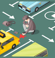 classic detective isometric background vector image vector image