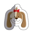 color sticker with female dog head and middle vector image