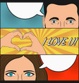 comic love story woman and man vector image vector image