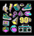 fashion patches in in 80s-90s memphis style vector image vector image