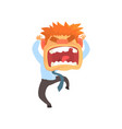 furious young redhead man screaming despair vector image vector image