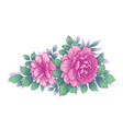hand drawn floral bunch with pink roses and vector image vector image