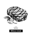 Hand drawn sketch ribeye steak Isolated food on vector image