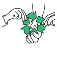 hand of family holding recycle sign vector image