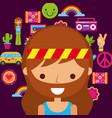 hippie woman cartoon retro vintage portrait vector image
