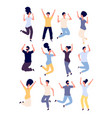 jumping people set happy smiling adults enjoy in vector image vector image