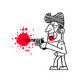 killer with firearms blood on white vector image vector image