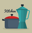 kitchen pot with kettle utensil icon vector image