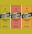 labels for cider with apple plum and pear vector image vector image