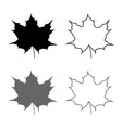 maple leaf silhouette icon set grey black color vector image vector image