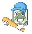 playing baseball power socket in the character vector image vector image