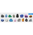 realistic stone transparent icon set vector image vector image