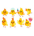 set cute cartoon chicken characters for easter vector image vector image