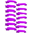 set of purpe cartoon ribbons and banners vector image vector image