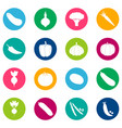 set of vegetable icons on color background vector image