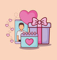smartphone man calendar gift online dating vector image vector image