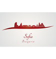 Sofia skyline in red vector image vector image