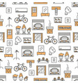 thin line art housing seamless pattern vector image