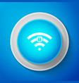 wifi locked sign icon isolated on blue background vector image vector image