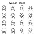 woman icon set in thin line style vector image