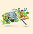 city map with magnifying glass vector image