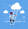african american businessman climb up ladder vector image