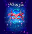 cartoon masquerade party invitation poster vector image
