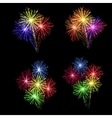A set of colorful fireworks in honor of the vector image