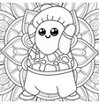 adult coloring bookpage a kawaii monster on the vector image