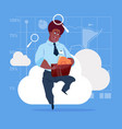 african american business man sitting on cloud vector image vector image