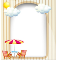 An empty surface with beach chairs and umbrella vector image vector image