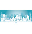 asia skyline landmarks in paper cutting style vector image vector image
