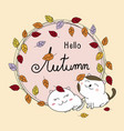 autumn card design of couple cat and leaves fall vector image vector image