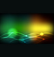 background template with green and yellow wavy vector image vector image