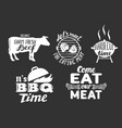 barbecue meat quotes labels badges set vector image vector image