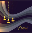 beautiful happy diwali greeting with golden diya vector image vector image