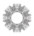 black and white round mandala frame with a boho vector image vector image