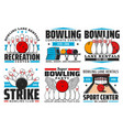 bowling with skittles and ball on alley icons vector image vector image
